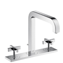 Picture of 3 hole basin mixer with cross head handles, plate and long spout