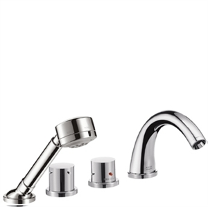 Picture of 4 hole thermostatic tile mounted bath and shower mixer