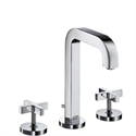 Picture of 3 hole basin mixer with cross handles and short spout