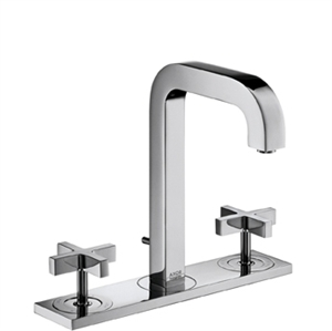 Picture of 3 hole basin mixer with cross head handles, plate and short spout