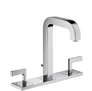 Picture of 3 hole basin mixer with lever handles, plate and short spout