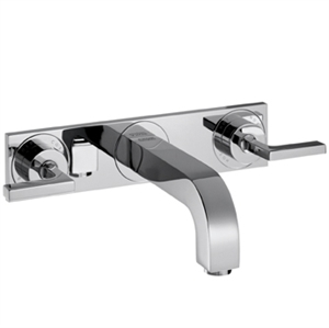 Picture of 3 hole basin mixer with lever handles, escutcheons and long spout