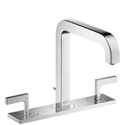 Picture of 3 hole basin mixer with lever handles, plate and long spout