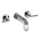 Picture of 3 hole basin mixer with lever handles, escutcheons and short spout