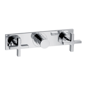 Picture of 2 handle bath and shower mixer for concealed installation with cross handles and plate