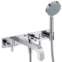 Picture of 3 hole bath and shower mixer with cross head handles and plate