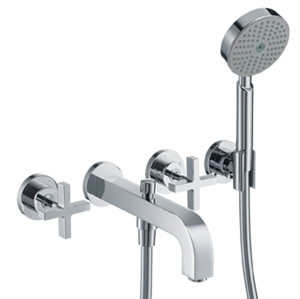 Picture of 3 hole bath mixer with cross head handles and plate