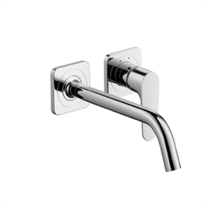 Picture of Single lever basin mixer with escutcheons and long spout