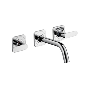 Picture of 3 hole basic mixer with escutcheons and short spout, wall mounted