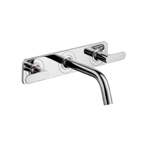 Picture of 3 hole basin mixer with plate and short spout, wall mounted