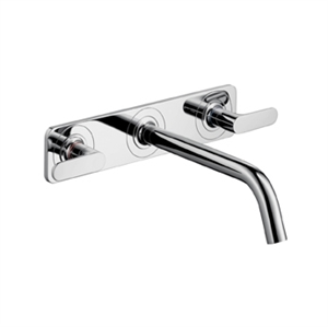 Picture of 3 hole basin mixer with plate and long spout, wall mounted