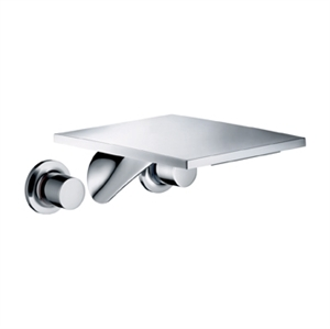 Picture of 3 hole basin mixer for concealed installation and wall mounted with long spout