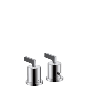 Picture of 2 hole thermostatic rim mounted chrome bath mixer with lever handles