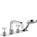 Picture of 4 hole rim mounted bath and shower mixer with cross head handles and plate