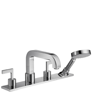 Picture of 4 hole rim mounted bath mixer with lever handles and plate