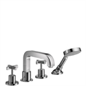 Picture of 4 hole rim mounted bath and shower mixer with cross handles