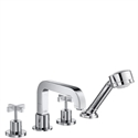 Picture of 4 hole tile mounted bath and shower mixer with cross head handles