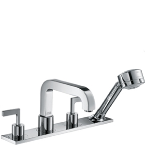 Picture of 4 hole tile mounted bath and shower mixer with lever handles and plate