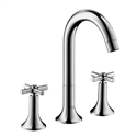 Picture of 3 hole basin mixer with cross head handles and high swivel spout