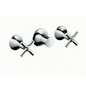 Picture of 2 handle bath and shower mixer for concealed installation with cross head handles for wall mounting