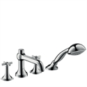 Picture of 4 hole rim mounted bath and shower mixer with cross head handles