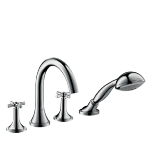 Picture of 4 hole rim mounted bath and shower mixer with cross head handles and high spout