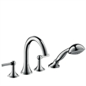 Picture of 4 hole rim mounted bath and shower mixer with lever handles and high spout