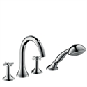 Picture of 4 hole tile mounted bath and shower mixer with cross head handles and high spout