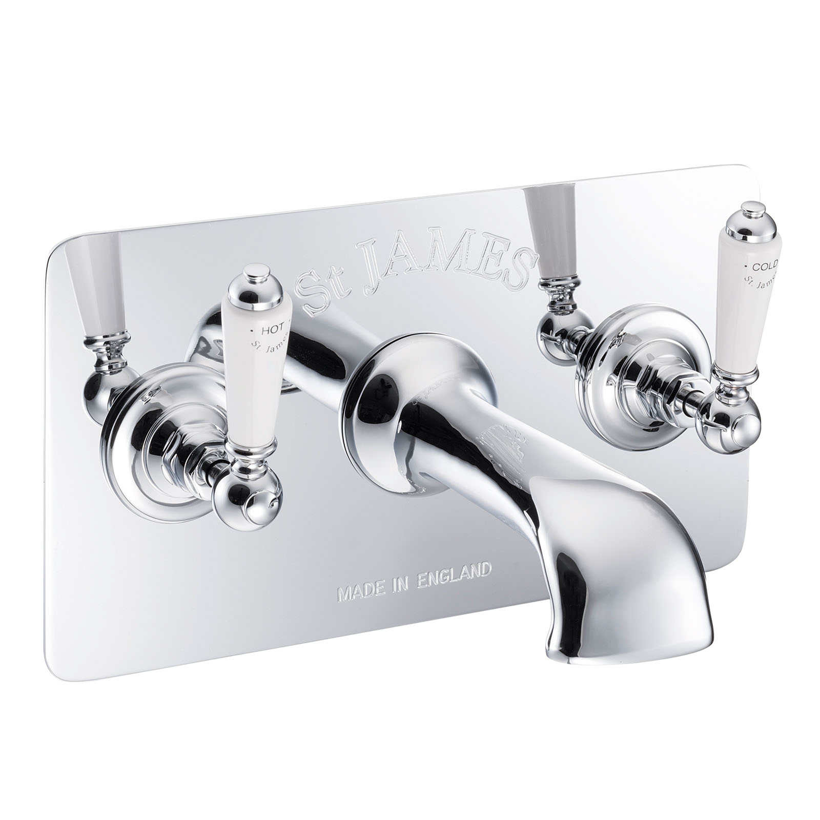 Picture of Three Hole Wall Mounted Bath Filler With Engraved Concealing Plate